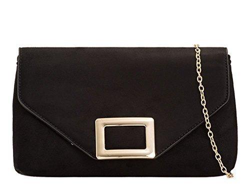 DIVA lanière carré à faux NEUF Femmes pour main 'S pochette décoration Medium or Noir daim haute Fuchsia Sac chaîne 5F1fnx