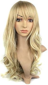 hjlhyl-senza capucha de fibra de kanekalon Bang una larga peluca ...