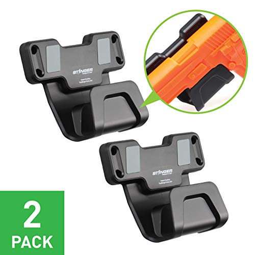 Stinger Gun Magnet Holder w/Safety Trigger Guard Protection, Magnetic Gun Mount & Holster for Handgun, Shotgun, Pistol, Revolver. Easy Conceal in Car, Truck, Vehicle, Desks, Safes, (Grey Color 2 Pack)