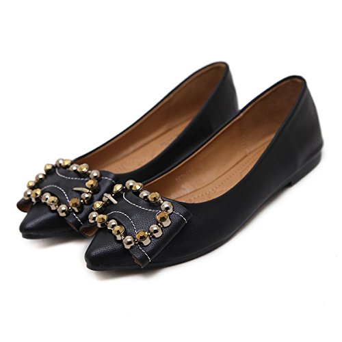 Herbst Freizeit Single Ferse Flats Neue Shallow Low Party Farbe EUR39UK665 Damen Rough Work Nude Schwarz Pumps Mund Zeh Strass Frühling Spitz Schuhe Schuhe Damen NVXIE Court xwpX1Oqnt