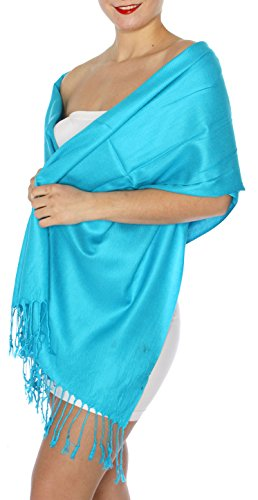 SERENITA Women's Silky Solid Pashmina Style 34 Turquoise, One Size by SERENITA