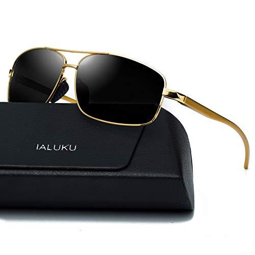 IALUKU Rectangular Polarized Sunglasses for Men Square Retro Sunglasses (Gold/Grey, 60) (For Sunglasses Best Men Sellers)