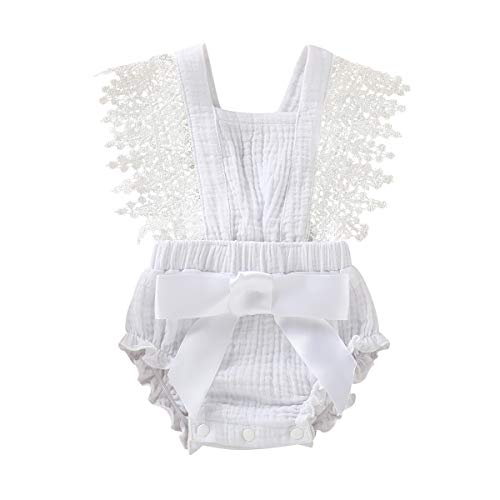 - Newborn Summer Outfits Baby Ruffle Romper Lace Sleeveless Bodysuits Bowknot Jumpsuit Sunsuits (White#2, 12-18 Months)