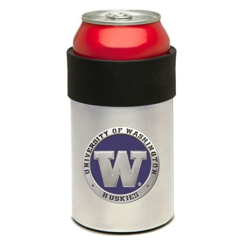 Stainless Steel Can Cooler with Team Logo (Washington Huskies)