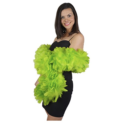 Large Natural Turkey Feather Boa - 6' Lime Green Flapper Halloween Cosplay Costume Accessory
