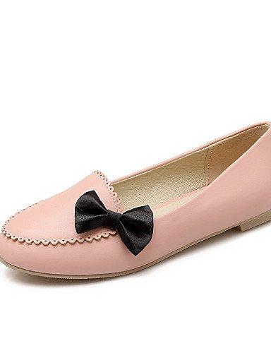 ZQ gyht Zapatos de mujer-Tacón Bajo-Comfort / Punta Redonda-Planos-Casual-Semicuero-Negro / Rosa / Blanco , black-us7.5 / eu38 / uk5.5 / cn38 , black-us7.5 / eu38 / uk5.5 / cn38 pink-us5.5 / eu36 / uk3.5 / cn35