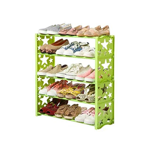 DSWSSH Decorative Jewelry Boxes Shoe Cabinet 5-Layer Steel Single Plastic Tube Storage Box for Home Furniture, Shoe Organizer (Color : Green) (Entranceway Storage)