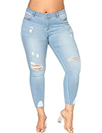 jieli a Women's Stretchy High Waisted Jeans Skinny Ripped Distressed Jeggings