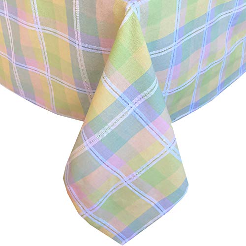 (Lintex Tailored Cottage Plaid Lurex and Spring Cotton Tablecloth, Cottage Plaid Pink, Blue, Yellow and Green Indoor/Outdoor Fabric Tablecloth, 60 x 102)