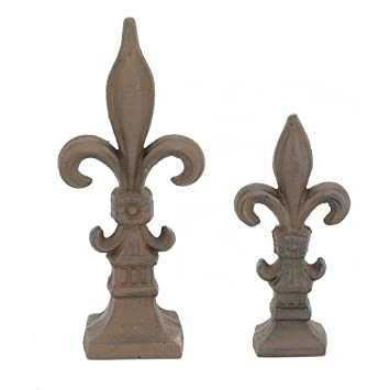 Charming Set Of 2 Cast Iron Fleur De Lis Garden Statue Patio Yard Doorstop  Paperweight