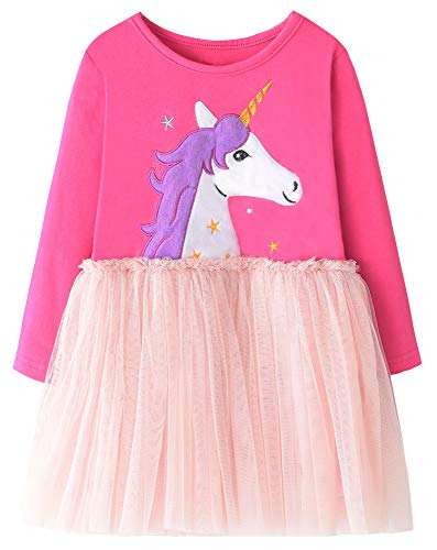 Fiream Girls Cotton Longsleeve Party Dresses Special Occasion Cartoon Patch Dresses(JP101,5-6Y) ()