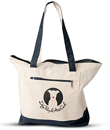 Dog People Are Cool Canvas Tote Bag with Zipper Closure, Front Pocket and Double-Sided Reinforced Straps - Large Reusable Grocery Shopping Bag or Beach Tote Bag (Natural/Blue)