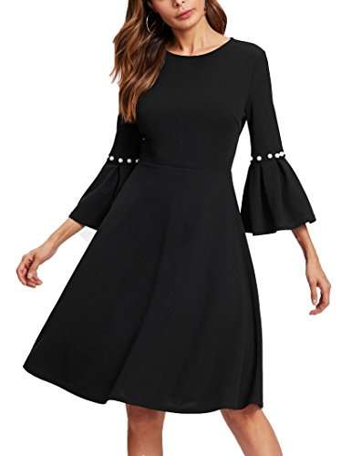 Raglan Flare Dress (Floerns Women's Pearl Beading Raglan Sleeve Round Neck Back Zipper Knee Length Elegant Casual A Line Dress Black S)