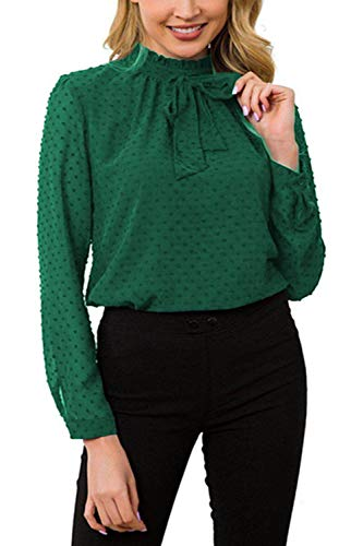 (ACONIYA Womens Bow Tie Neck Long Sleeve Blouse Office Work Chiffon Elegant Casual Shirt Tops (S, Green))