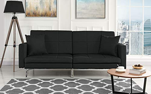 Modern Plush Tufted Linen Split Back Living Room Futon, Sofa for Small Space (Black) ()