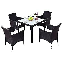 Tangkula 5PCS Patio Wicker Dining Set Outdoor Rattan Table Chair Furniture Set
