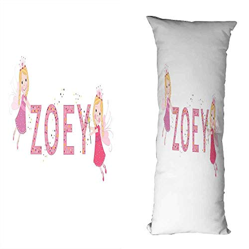 (DuckBaby Living Room Sofa Hug Pillowcase Zoey Feminine Themed Baby Girl Name Magic Creatures Calligraphic Alphabet Letter Design Soft and Durable W23.5 xL71 Multicolor)