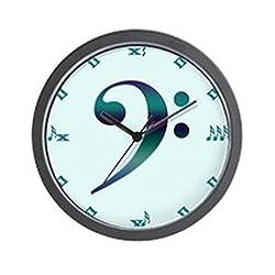 CafePress - Bass Clef Teal Wall Clock - Unique Decorative 10 Wall Clock