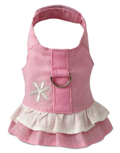 - Doggles Hemp Dress Dog Harness with Flower, Pink, Small