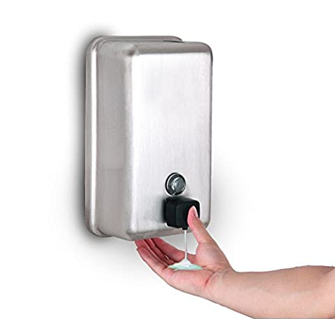 Alpine Manual Surface-Mounted Stainless Steel Liquid Soap Dispenser, 40 oz Capacity (Vertical, Stainless Steel, (Alpine Industries)
