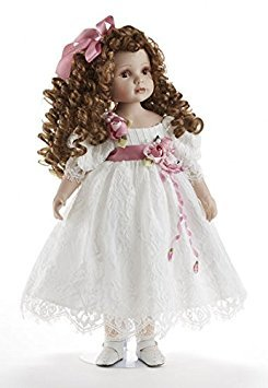 "Delton 22"" Porcelain Doll "" Lorraine"" , White Lace Dress"