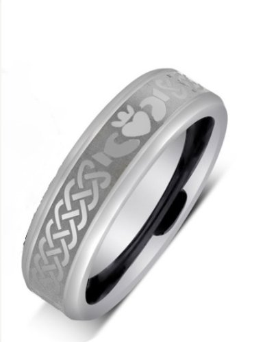 6MM Tungsten Carbide IRISH CLADDAGH Celtic Design Wedding Band Ring w/Laser Etched (Available Sizes 7-14 Including Half Sizes) Please e-mail sizes (Carbide Ring Laser Tungsten Solid)