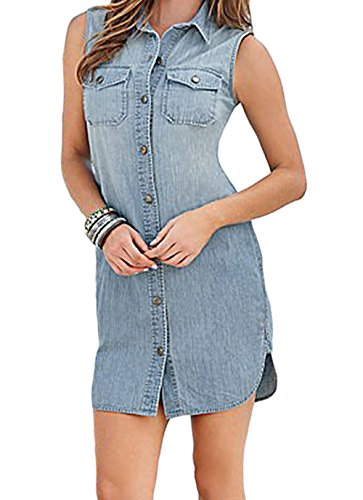 DH-MS Dress Women's Button Down Sleeveless Denim Shirt Dress S (Abba Fancy Dress Outfits)