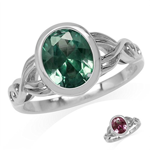 10x8MM Oval Shape Simulated Color Change Alexandrite 925 Sterling Silver Celtic Knot Ring Size 8