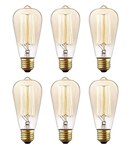 6 Pack, Rolay 25 Watt Vintage Edison Light Bulb with Squirrel Cage Filament, 110~130 Volts, E26 Base, 70 (25 Watt Type A Light Bulb)