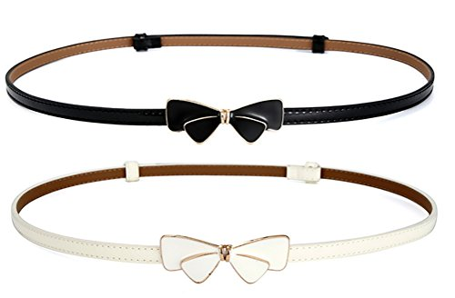 Women Slim Waist Belt Adjustable with Cute Bowknot (L, pack of 2(black white)) 0.5' Wide Leather