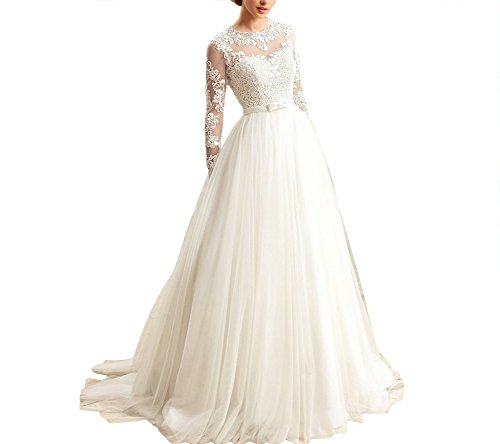 Kevins Bridal Women's A-Line Wedding Dresses 2017 Long Lace Bridal Gowns Sleeves Ivory Size (Ivory Lace Gown)