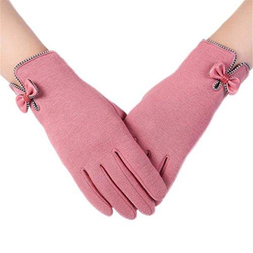 Clearance!Women Gloves,Haoricu Fashion Autumn Winter Bow-knot Ladies Outdoor Sport Warm Gloves (Pink Items)