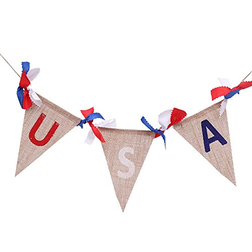 (Keebgyy USA Burlap Bunting Banners, Patriotic Triangle American Flag hanging decor 4th of July Independence Day (Short Fringe))