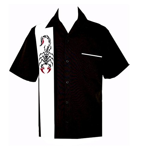 BeRetro Men's Tribal Tattoo Scorpion Shirt (Tribal Button Down Shirt)