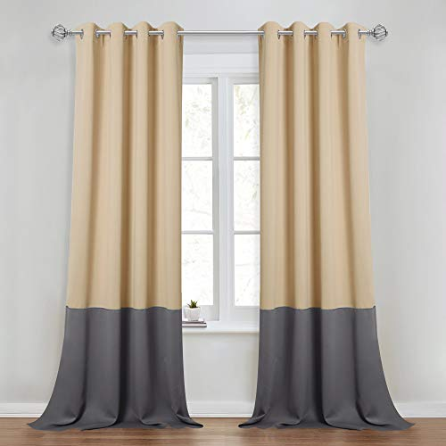 NICETOWN 2 Tones Slider Curtain Panels - Color Block Draperies Energy Smart Light Blocking Drapes for Patio Sliding Glass Door, Living Room (1 Set, 52