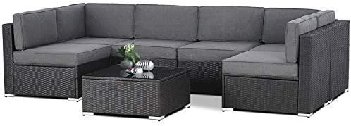 Patio Festival 2 PCS Patio Sectional Sofa Set 2-Seat Conversation Set Outdoor Metal Furniture