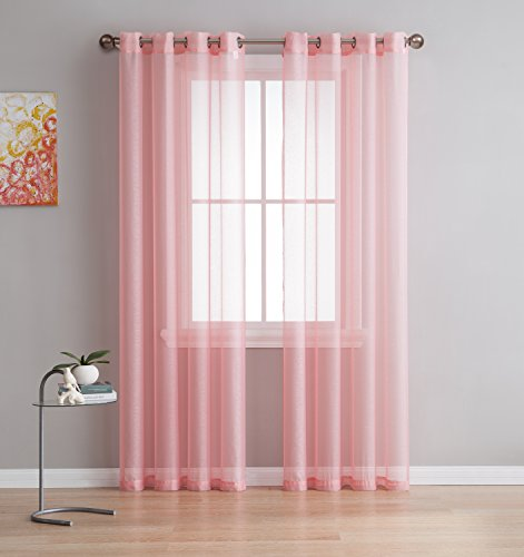 Grommet Semi-Sheer Curtains - 2 Panels - Total Size 108 Inch Wide (54 Inch Each Panel) - 120 Inch Long - Beautiful, Elegant, Natural Light Flow, and Durable Material (54