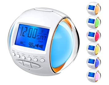 KL - Radio despertador (FM, reloj digital con luces LED de 7 colores, 11 sonidos de la naturaleza): Amazon.es: Electrónica