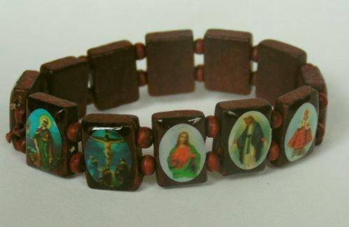 1 X Wood Rosary Bracelet with Colorful Religious Icons & Beads - Shiny Mahogany Wood