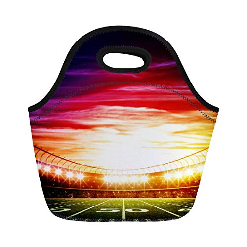 Semtomn Neoprene Lunch Tote Bag Green Football Light of Stadium American Soccer Field Night Reusable Cooler Bags Insulated Thermal Picnic Handbag for Travel,School,Outdoors,Work