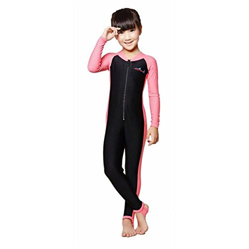 ZYZF Kids Boys Girls One Piece Long Sleeves Swimsuit Diving Suit Rash Guards UPF 50+ Sunsuit Swimwear Costume by ZYZF