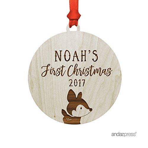 Andaz Press Personalized Laser Engraved Wood Christmas Ornament with Gift Bag, Baby's First Christmas 2019, Woodland Deer, Custom Name