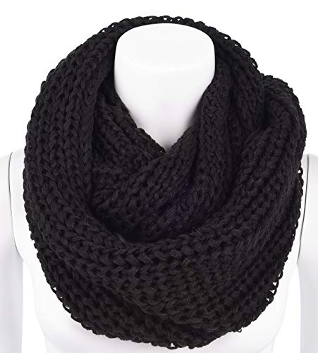 AMSTAR Womens Soft WarmThick Ribbed Knit Winter Infinity Circle Loop Scarf (OneSize, Straight-Black)
