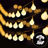 small bedroom decorating ideas B-right 14.8ft Globe String Light, Battery Powered 8 Modes Outdoor Waterproof Decorative String Lights for Bedroom Patio Garden Parties Wedding, 40 LED Warm White