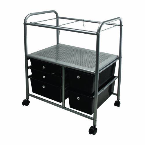 Advantus Mobile Organizer File Cart with 5 Drawers, 21.65 x 15.25 x 28.35 Inches, Chrome/Black (34100)