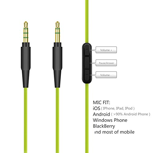 Geekria QuickFit Replacement Cable with Mic for Skullcandy Hesh, Hesh 2, Crusher, Grind / Audio Cord with Volume Control and Microphone, Works With Android, Apple Device and Windows Phone (Green)