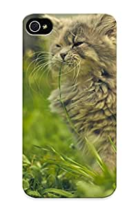XzhyxvS789lDTII Anti-scratch Case Cover Burnednilsi Protective Cat Eating Grass Case For Iphone 4/4s