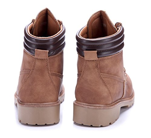31cd32c72599f8 Schuhtempel24 Damen Schuhe Boots Stiefel Stiefeletten Blockabsatz 4 cm  Camel ...
