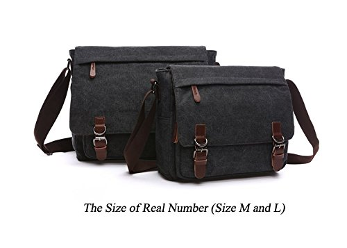 Mestart Messenger Bag School Business Briefcase Shoulder Black ...
