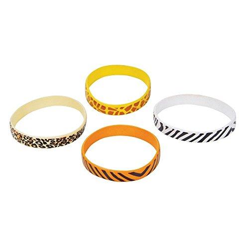 Safari Print Rubber Bracelets (Bulk Pack of 12 - Rubber Animal Bracelets